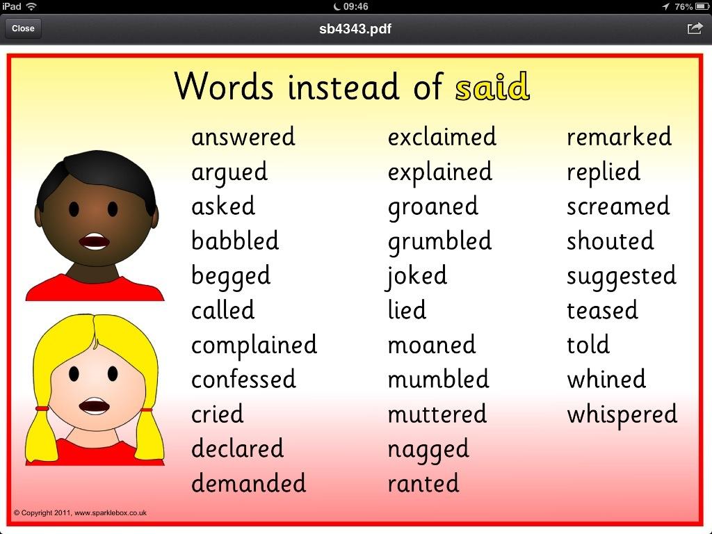 Words Instead Of Said