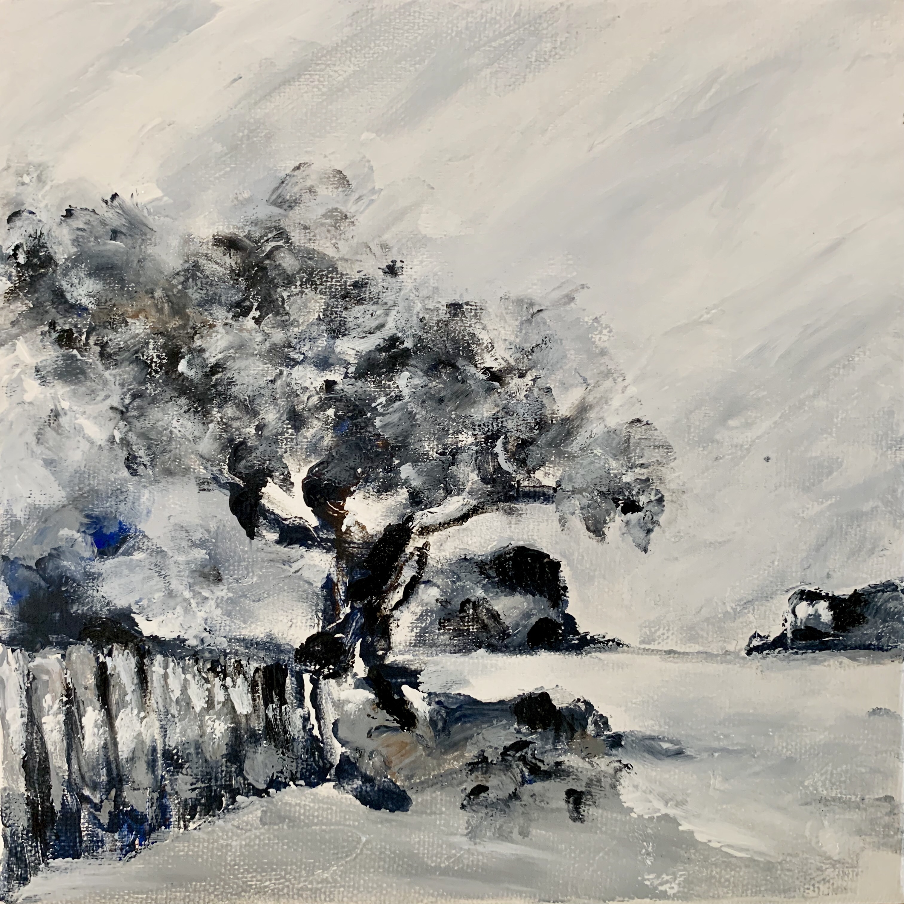 Abstract painting of the Knysna Heads from Bollard Bay