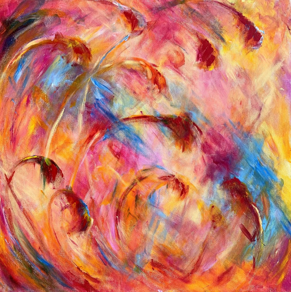 abstract painting of a pincushion protea