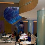 The interior of Market at the W Atlanta-Buckhead. A spirograph may have been the inspiration for some of the artwork.