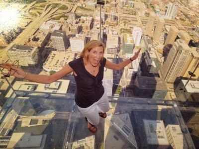 Yes, I am 103 stories up standing on the ledge of SkyDeck in Chicago, the tallest building in the western hemisphere.