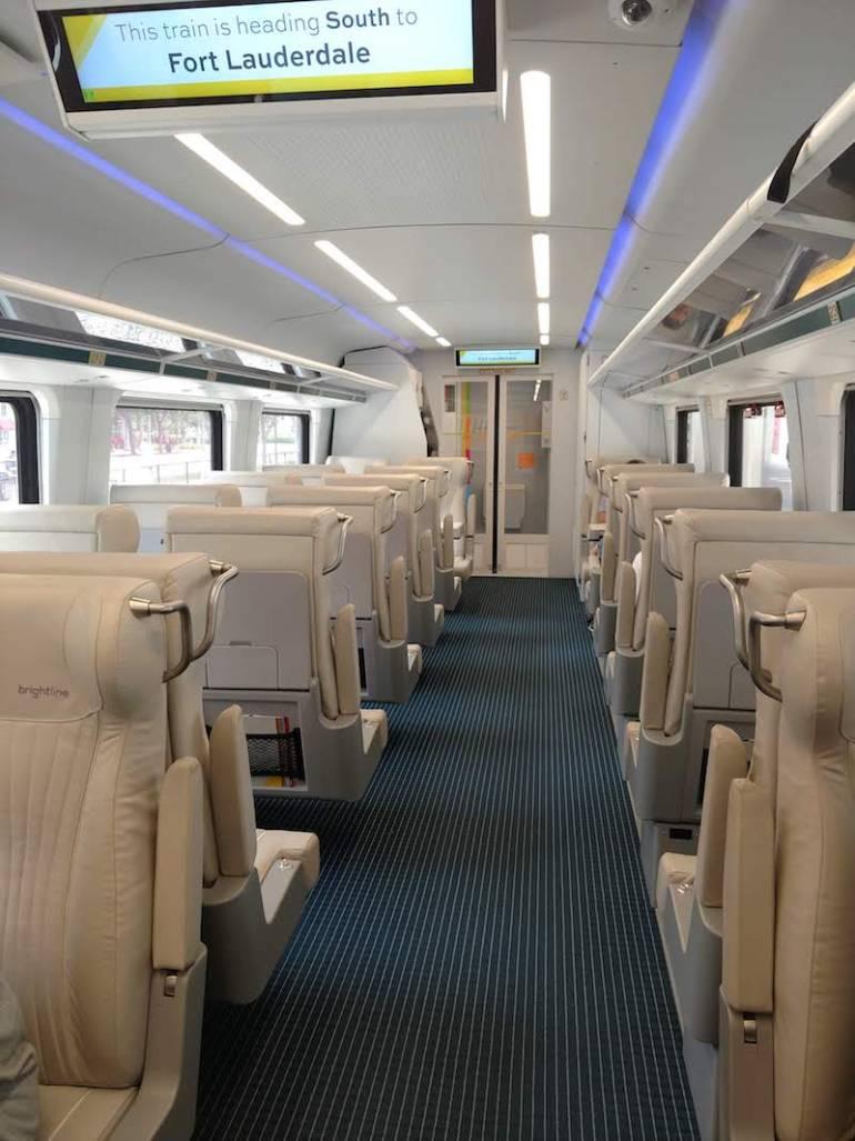 aisle on a Brightline train