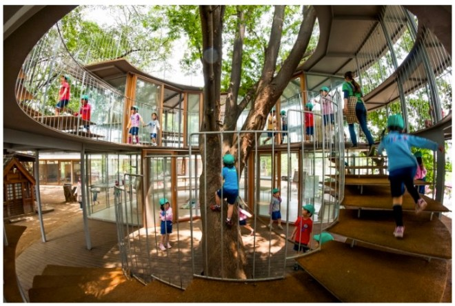 This play area was built after the school was completed in 2007, but uses many compatible ideas.