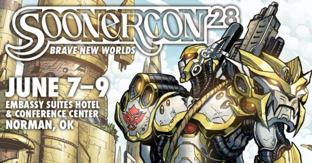 A cartoon-style rendering by Matt Frank of a person in fantasy armor, or possibly an anime-style mecha is part of the SoonerCon 28 header image used to promote the June 2019 science fiction convention.