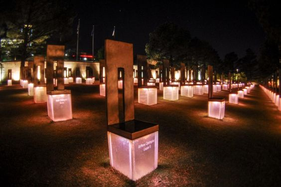 Start your new perspective on 9/11 by considering the domestic terrorism of the 1995 Oklahoma City bombing. Here's an image of the memorial at night.