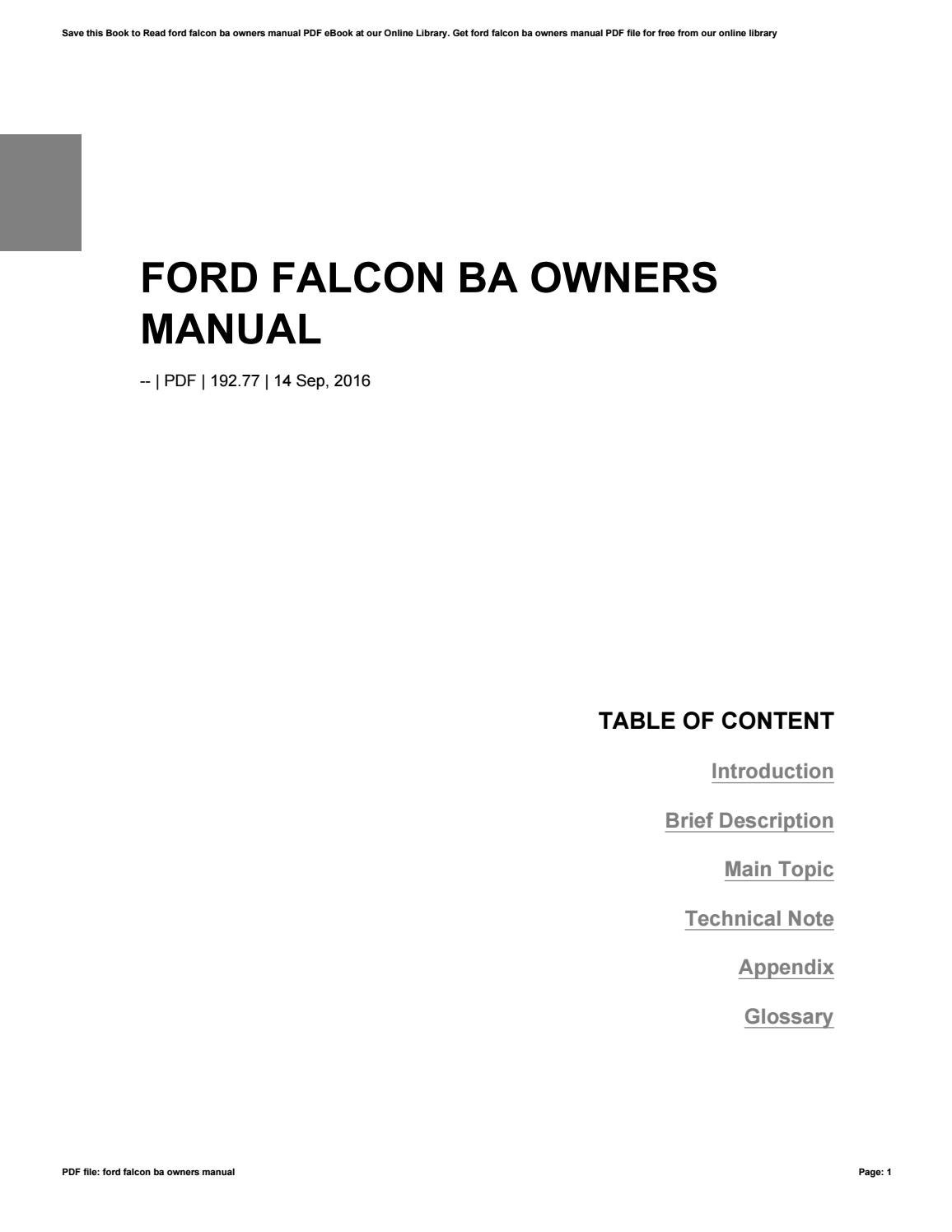 Ford Falcon Owners Manual