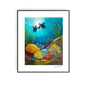 Two Turtles in Love art print by Jan Tetsutani