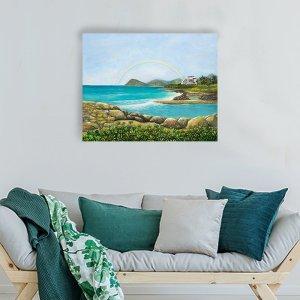 Four Seasons Resort along Ko'Olina coast Painting by Jan Tetsutani