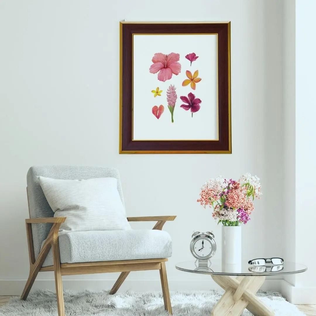 Tropical floral art print by Jan Tetsutani