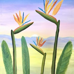 online painting workshop bird of paradise