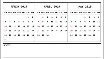 Blank Calendar April 2019 Template Word Excel