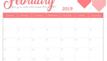 Blank February 2019 Calendar PDF Monthly Weekly Planner