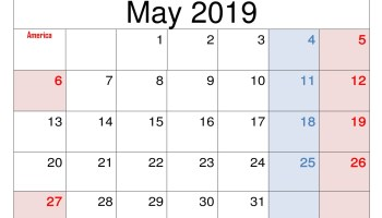 June 2019 Calendar With Holidays For Us Canada India