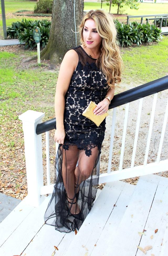 Black Lace Formal Dress Mardi Gras