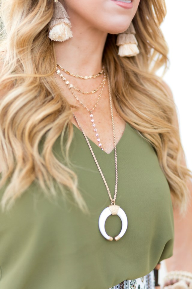 White Crescent Horn Necklace