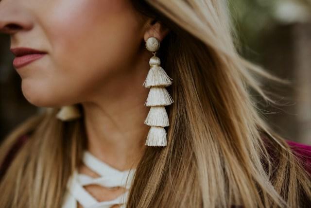 Ivory Tassel statement earrings
