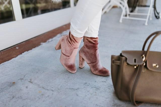blush velvet booties