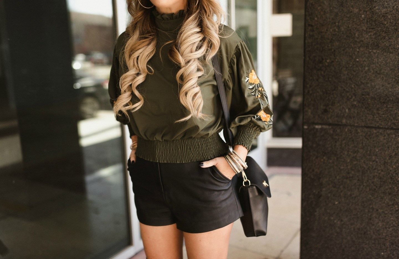 black leather shorts