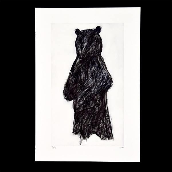 charcoal silhouette of a black bear on light grey background
