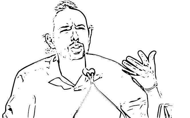 Dibujo de Pablo Iglesias, líder de Podemos
