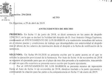 Copia auto del Juzgado de lo social nº 1 de Algeciras