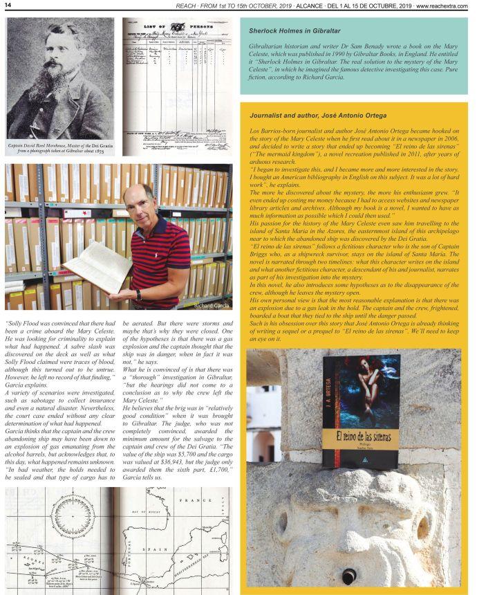 Página 14 de la revista Reach Extra Alcance con un reportaje sobre el misterio del Mary Celeste