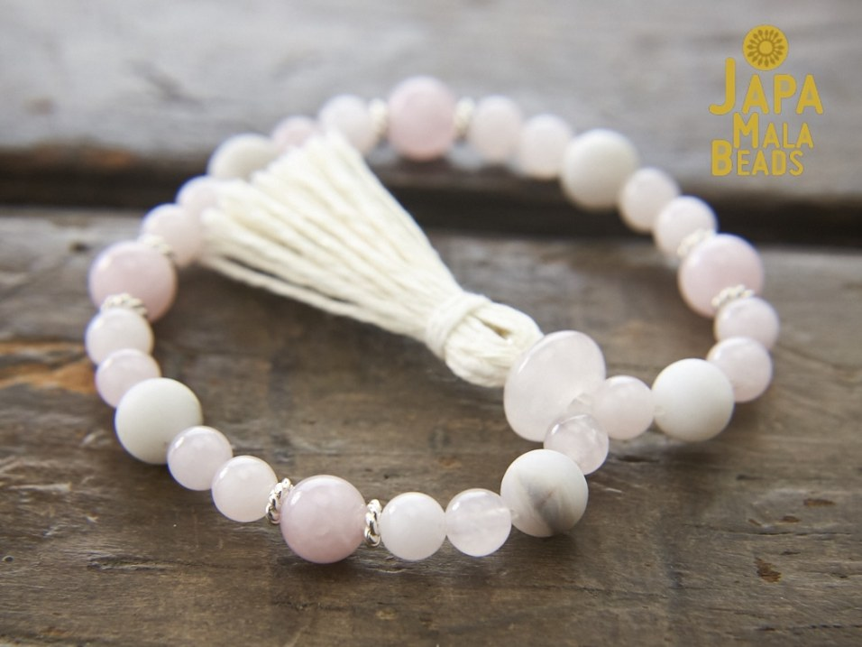 Rose Quartz White Agate Wrist Mala
