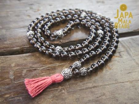 Smoky Quartz and Silver Necklace Mala
