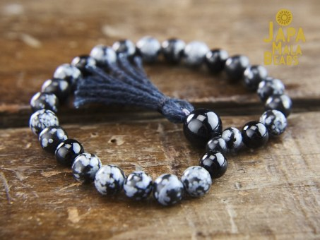 Snowflake Obsidian Bracelet mala beads