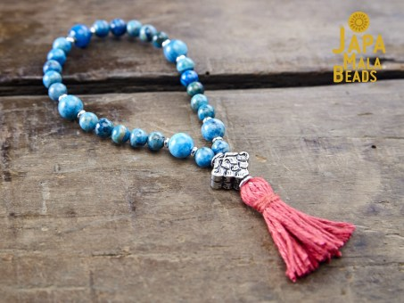 Blue Crazy Lace Agate and Silver Mala