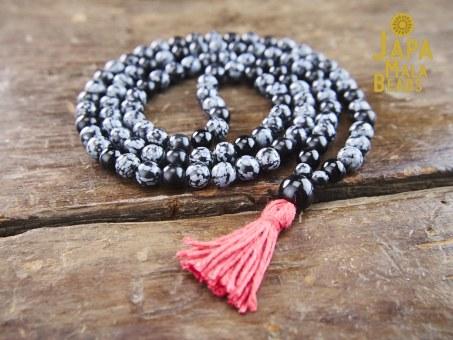 Snowflake Obsidian & Black Onyx Mala