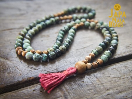 African Turquoise and Meranti 108 Mala Beads