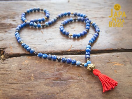 Lapis Lazuli, Brass, Ebony Necklace Prayer Beads