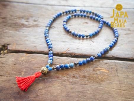 Lapis Lazuli, Brass, Ebony 108 Bead Mala