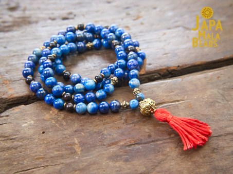 Lapis Lazuli, Brass, Ebony Meditation Necklace