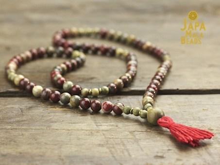 Apple Jasper Necklace Mala Beads