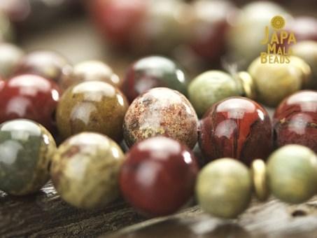 Apple Jasper and Green Sandalwood Mala Beads