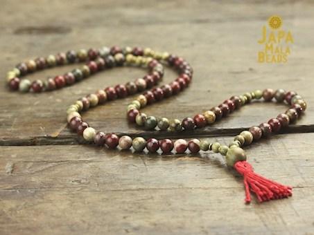 Apple Jasper and Green Sandalwood Necklace Prayer Beads