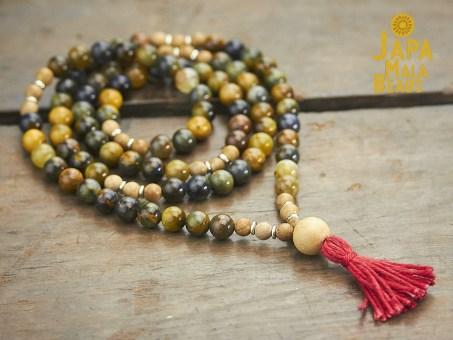 Golden Pietersite and Silkwood Full Mala