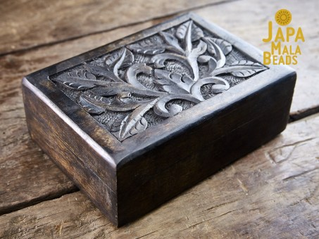 Dark Floral Carved Mala Box