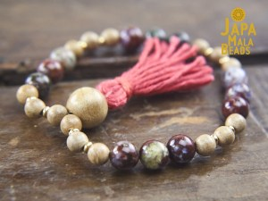 red lightning agate and Silkwood mala