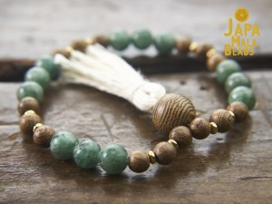 Green Apatite and Wenge Wood Wrist Mala