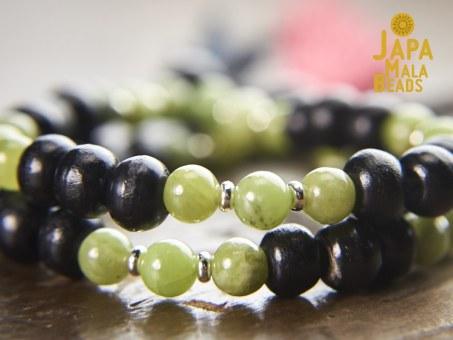 Black Horn and Green Garnet beads