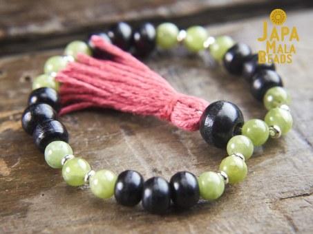 Black Horn and Green Garnet Wrist Mala