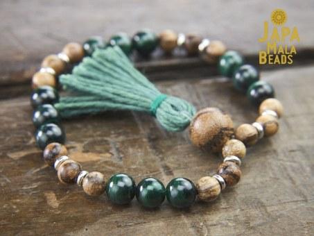 Malachite and Sandalwood Bracelet Mala
