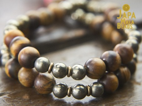 Matte Tiger Eye and Pyrite Wrist Mala