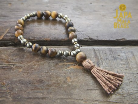Tiger Eye and Pyrite wrist Mala