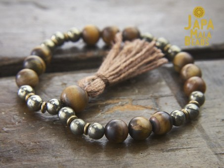 Tiger Eye and Pyrite Bracelet Mala prayer beads