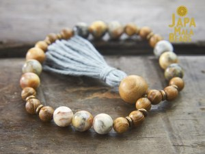 Crazy Lace Agate and Golden Sandalwood Bracelet Mala