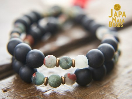 Black Obsidian and African Bloodstone mala beads
